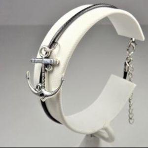 Jewelry - NAUTICAL LOVE ANCHOR BLACK LEATHER BRACELET
